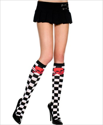 Checkered Knee Highs With Crossbones
