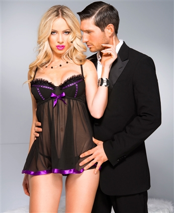 Mesh Babydoll with Satin Details ML-59071