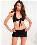 Stretch Tie Front Top and Mini Skirt ML-60004
