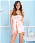 Strapless Mesh and Lace Babydoll with Satin Bow ML-60025