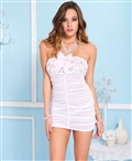 Sheer and Lace Strapless Babydoll with Bow ML-60026