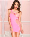Single Shouldered Mini Dress with Side Net ML-60031