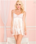 Spaghetti Strap Fringed Mini with Lace Bust ML-60035