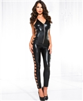 Wet Look Side Cut Out Bodysuit ML-60068