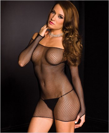 Diamond Net Long Sleeve Chemise ML-6074