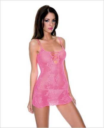 Music Legs® Stretch Lace Mini Dress With Matching Thong ML-6189