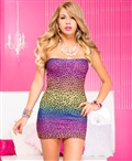 Straplesss Rainbow Leopard Print Dress ML-6356