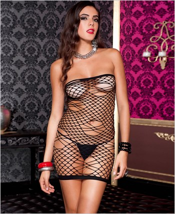 Diamond Net Tube Mini Dress ML-6366
