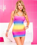Strapless Rainbow Tye Dye Dress ML-6417