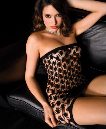 Black Diamond Net Tube Dress ML-6446