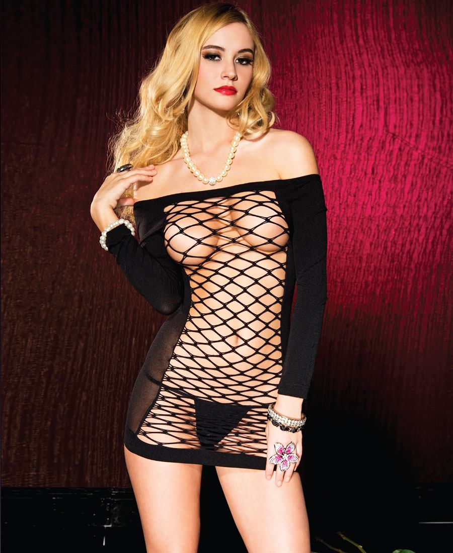 New Music Legs 56086 Strapless Opaque Mini Dress With Oval Net