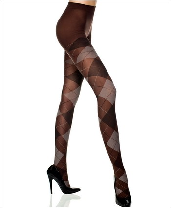 Opaque Tights With Large Argyle Print