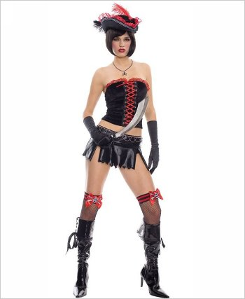 Music Legs Sexy Gothic Lace Up Pirate Adult Costume ML-70217
