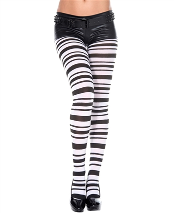 Black and White Striped Spandex Pantyhose ML-7022
