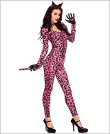 Adult Pink Leopard Cat Suit Costume ML-70485