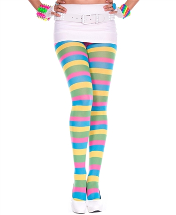Neon Colored Striped Spandex Pantyhose ML-7093
