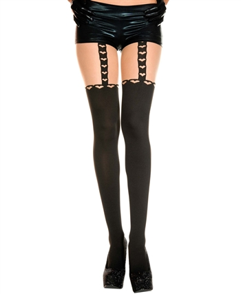 Heart Print Faux Stockings and Suspenders Pantyhose ML-7107