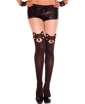 Bear Print Sheer Spandex Pantyhose ML-7122