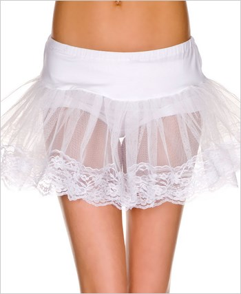 Double Layer Lace Trimmed Petticoat ML-714-White