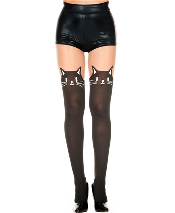 Kitty Face with Faux Stockings on Sheer Pantyhose ML-7141