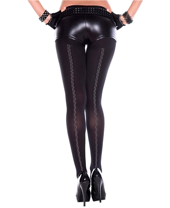 Chain Pattern Backseam Spandex Pantyhose ML-7194