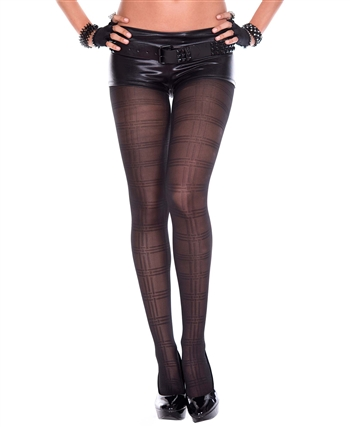 Plaid Print Design Spandex Pantyhose ML-7195