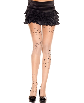 Heart and Star Print Pantyhose ML-7202