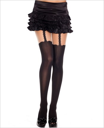 Pantyhose With Faux Thigh Highs And Garters