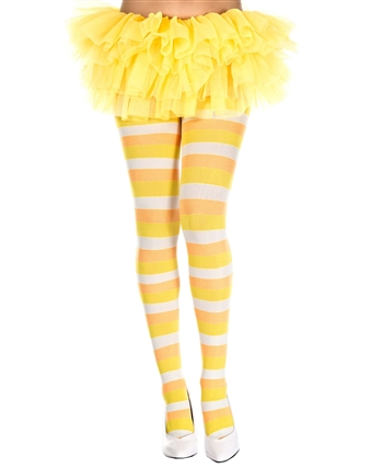 Candy Corn Pattern Spandex Pantyhose ML-7420