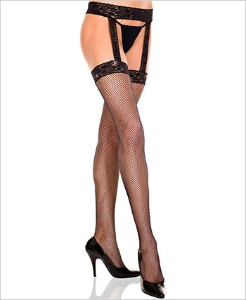 Fishnet Garter Belt Stockings With Rhinestones