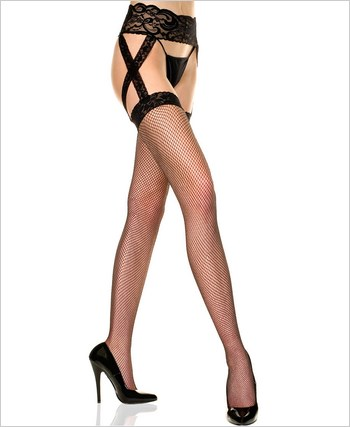 Fishnet Lace Top Garter Belt Stockings