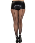 Plus Size Backseam Sheer Pantyhose ML-820Q
