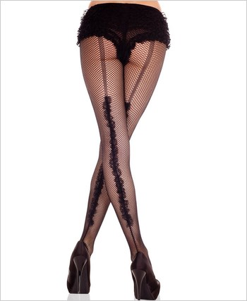 Fishnet Pantyhose With Ruffle Backseam