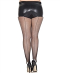 Plus Size Backseam Fishnet Pantyhose ML-920Q