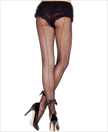 Backseam Fishnet Pantyhose with Satin Bow ML-925