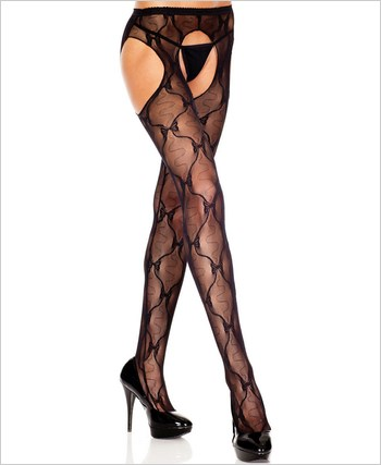 Bow Lace Suspender Pantyhose ML-933