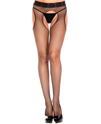 Lace Waist Fishnet Seamless Pantyhose ML-953