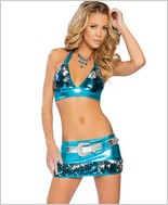 Roma Two Tone Sequin And Metalic Halter Top And Skirt RC-2873SQ