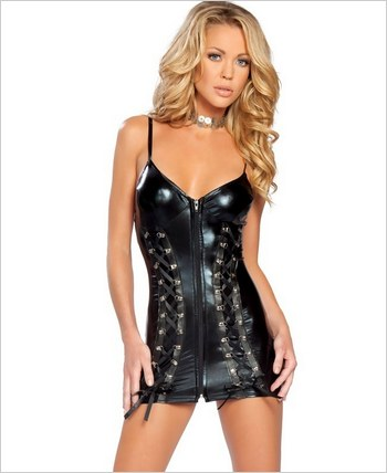 Roma Metallic Zipper Front Mini Dress RC-2879LQ