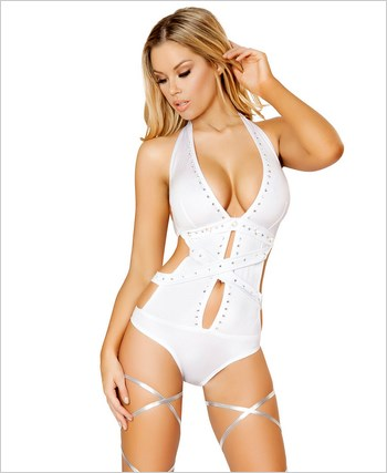 Rhinestone Romper with Mirror Detail  RC-3096-White