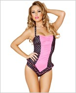 Scrunched Front Pinup Romper RC-3118-Black/Pink