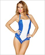 Scrunched Front Pinup Romper RC-3118-Blue/White