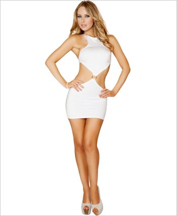 Cropped Top Open Back Mini Dress RC-3127-White