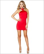 Cropped Mini Dress with Open Back RC-3129-Red