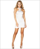 Cropped Mini Dress with Open Back RC-3129-White