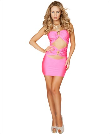 Cut out Tube Dress with O-Ring Detail  RC-3130-Pink