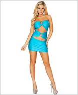 Cut out Tube Dress with O-Ring Detail  RC-3130-Turquoise