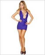 Cowl Neck Mini Dress with O-Ring RC-3131-Purple
