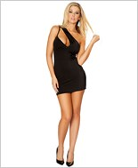 Single Shoulder Cut out Mini Dress  RC-3132-Black