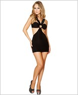 Open Strapped Tubed Mini Dress RC-3133-Black